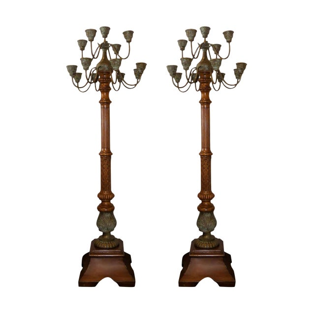 Maitland Smith Carved Wood and Bronze Candelabra Torchieres - a Pair For Sale