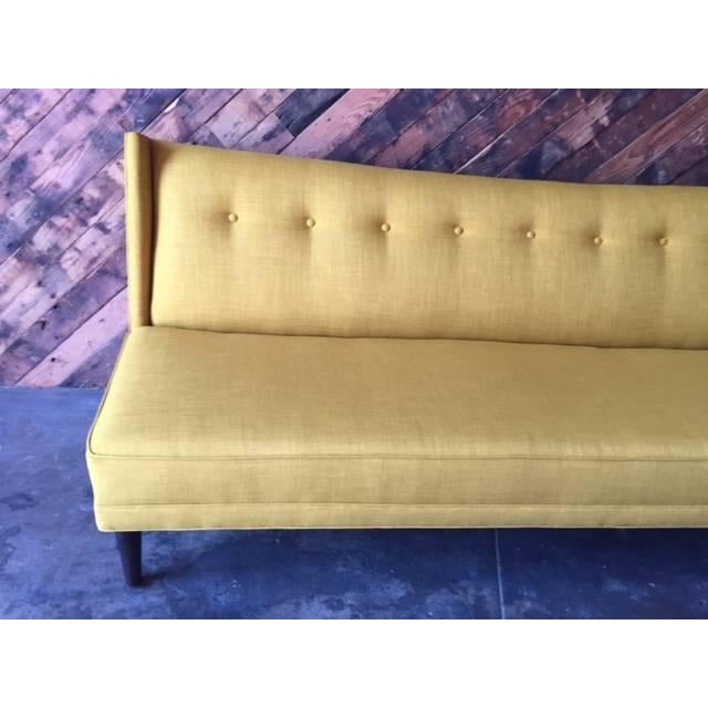 Mid-Century Style Custom Mustard Sofa For Sale - Image 4 of 5