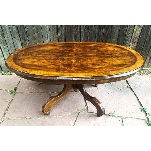 Traditional Traditional Oval Burled Walnut Veneer Coffee Table on Pedestal Base For Sale - Image 3 of 13
