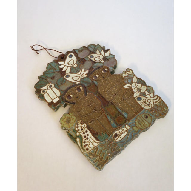 Folk Art Vintage Ceramic Wall Plaque by St. Andrew's Priory Pottery For Sale - Image 3 of 7