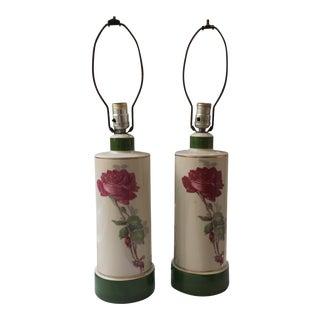 Porcelain Painted Lamps - a Pair For Sale