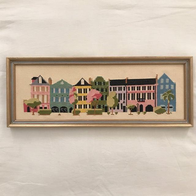 "Mid 20th Century Mid-Century ""Rainbow Row"" Framed Needlepoint Art For Sale - Image 5 of 5"