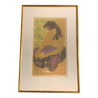 Original Vintage Color Woodblock, Female Nude, Artists Proof Listed Bruce Currie For Sale