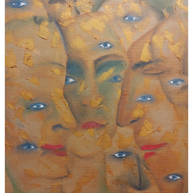 Many Eyes & Faces Cubist Oil Painting Signed by Janco For Sale - Image 4 of 12