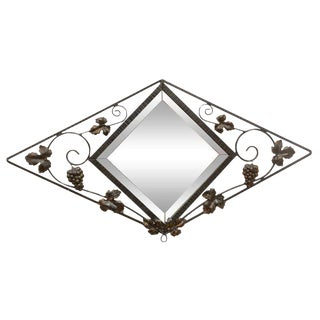 French Deco Iron Wall Mirror For Sale
