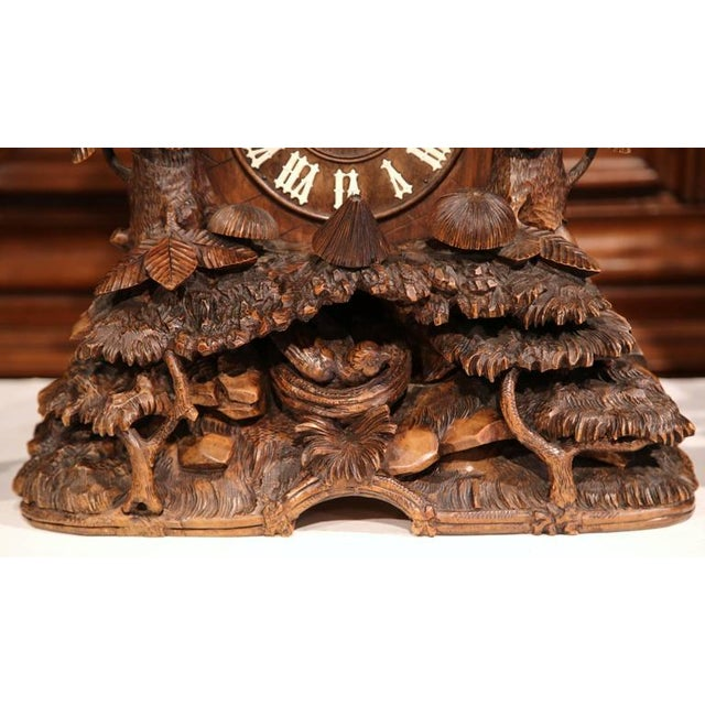 Late 19th Century 19th Century Black Forest Carved Walnut Cuckoo Clock - Set of 3 For Sale - Image 5 of 11