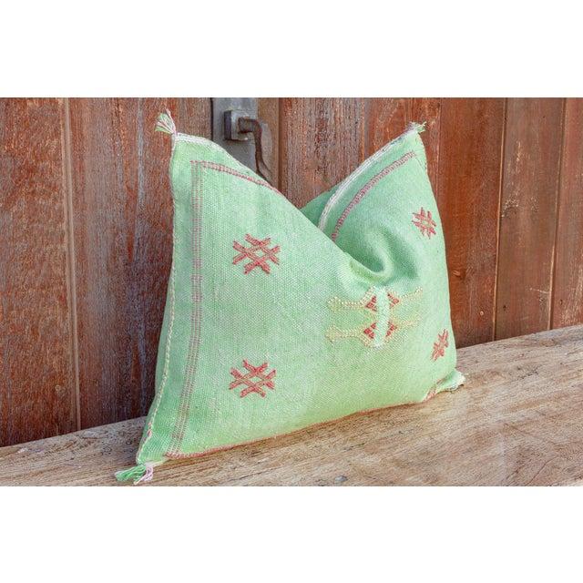 Tribal Kia Lumbar Moroccan Silk Rug Pillow For Sale - Image 3 of 8
