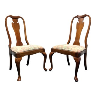 Harden Solid Cherry Queen Anne Dining Chairs - Pair 2 For Sale
