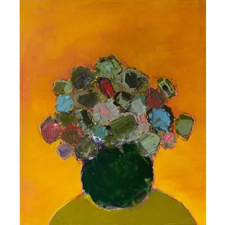 """Bill Tansey """"Emerald"""" Abstract Floral Oil on Canvas For Sale"""