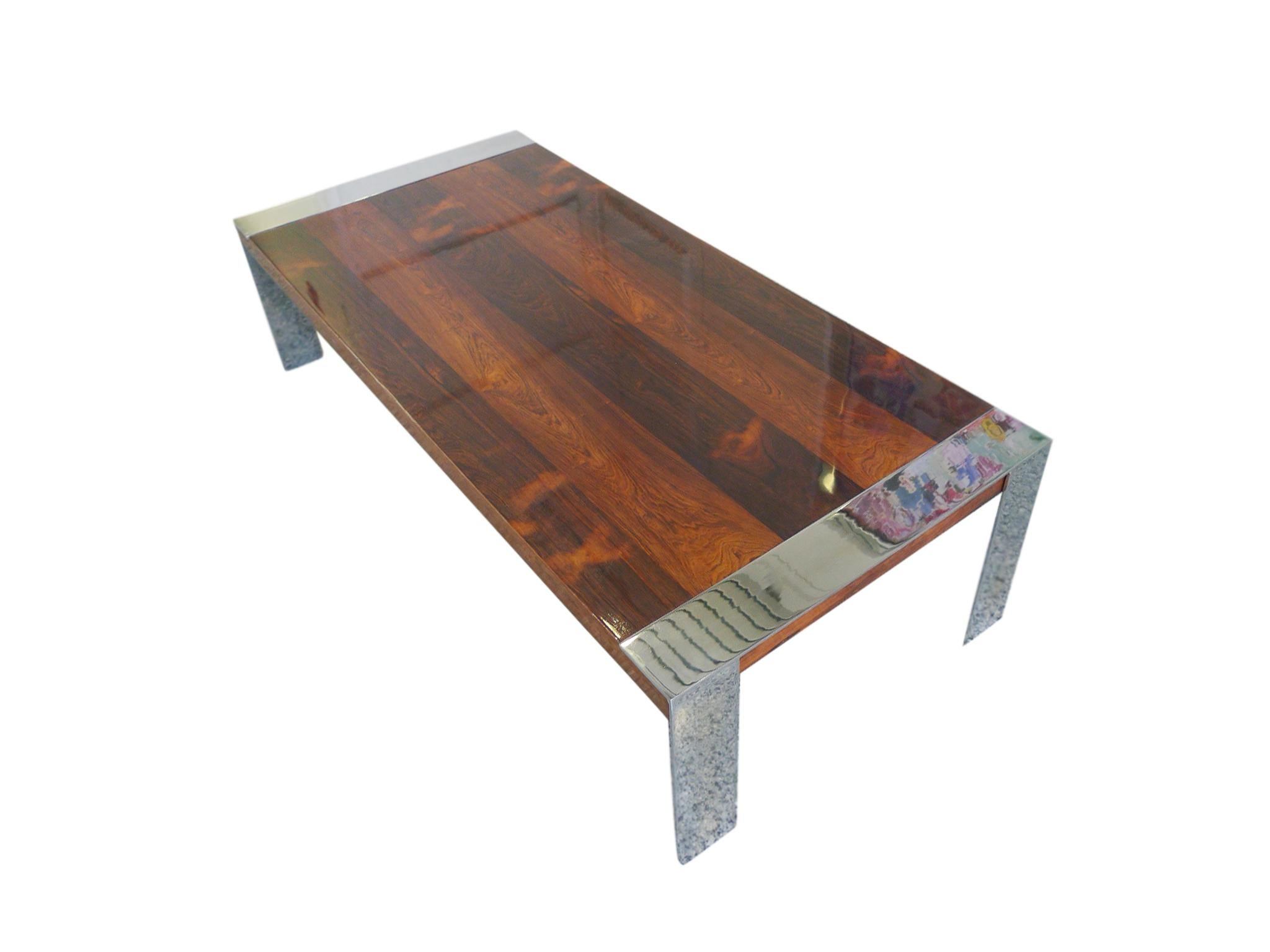 This Milo Baughman Coffee Table Is Comprised Of A Rosewood Tabletop And  Chrome Legs. The