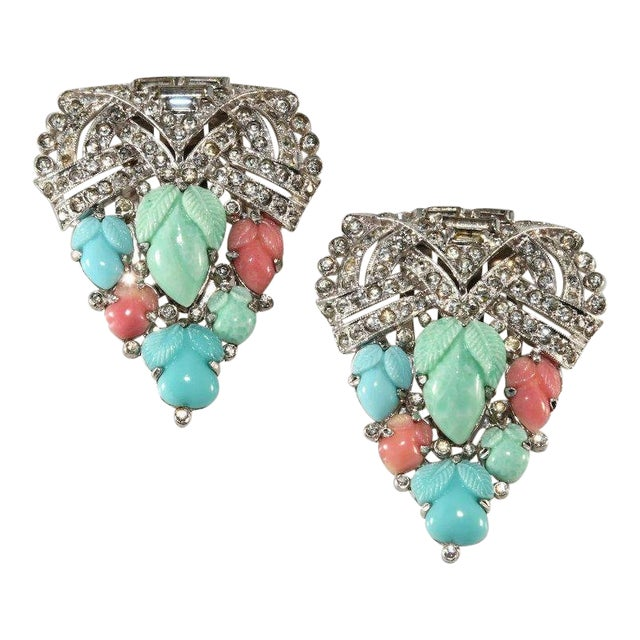 Trifari 1930s Fruit Salad and Rhinestones Dress Clips Brooches For Sale