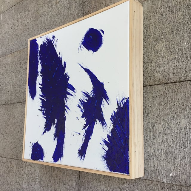Blue on White Framed Abstract Landscape Painting For Sale In San Francisco - Image 6 of 9