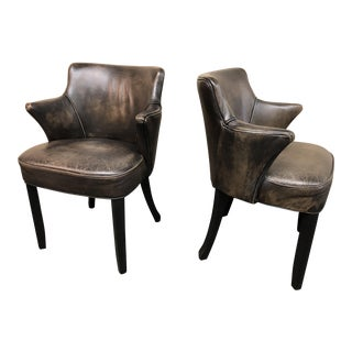 Contemporary Distressed Ebony Leather Armchairs - a Pair