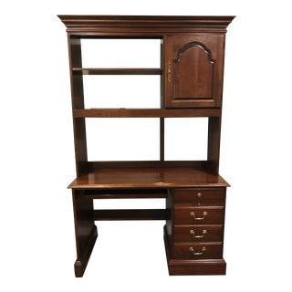 Vintage Two-Tiered Wood Executive Desk For Sale