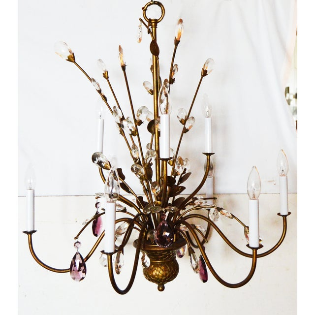 Very elegant Italian Chandelier with clear and amethyst crytals. Decorative brass basket in the center of the bottom. 9...