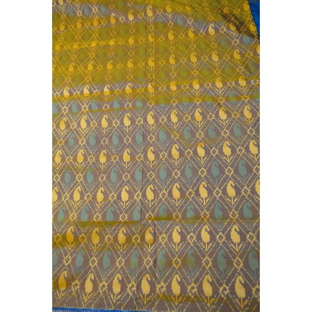Metal Silk Ikat Poochampalee Saree Sari Indian Gold Tone Yellow Green Turquoise Blue Geometric Paisley Pattern For Sale - Image 7 of 9