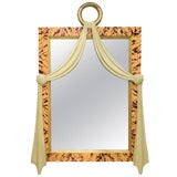 Image of Italian Art Deco Style Faux Tortoise Shell Carved Wood Mirror For Sale