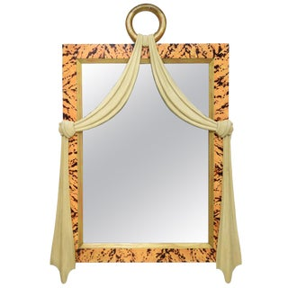 Italian Art Deco Style Faux Tortoise Shell Carved Wood Mirror For Sale