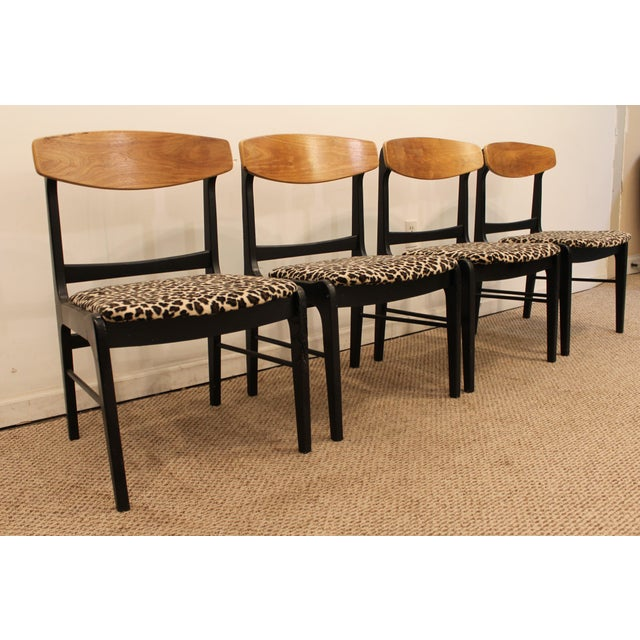 Danish Curve-Back Dining Chairs in Leopard - Set of 4 - Image 2 of 11