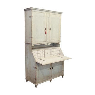 19th Century Gustavian Two Part Wooden Secretary Desk