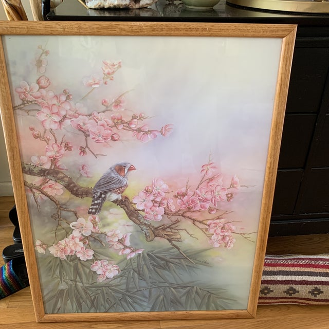 Large Vintage Watercolor Pastel Bird & Cherry Blossom Wall Art For Sale - Image 9 of 10