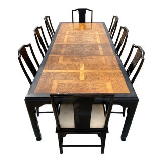 Mid-Century Modern Black Lacquer and Burl Dining Table and Chair Set Raymond Sobota for Century - 9 Pieces For Sale