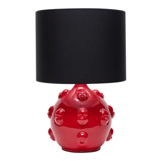 Handmade Red Seramic Lamp With Black Shade For Sale