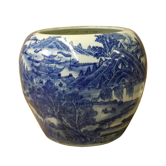 This is a handmade Chinese accent decorative porcelain pot / vase in blue and white color finish. There is ancient time...
