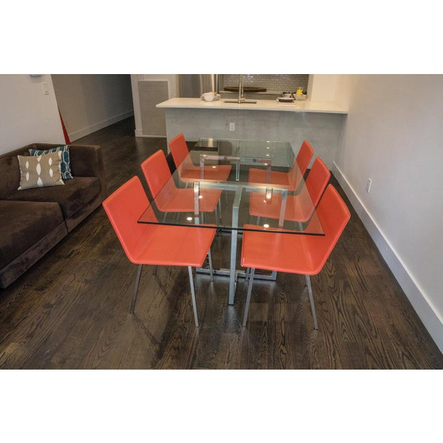 CB Chrome Rectangular Dining Table Chairs Chairish - Cb2 glass top dining table