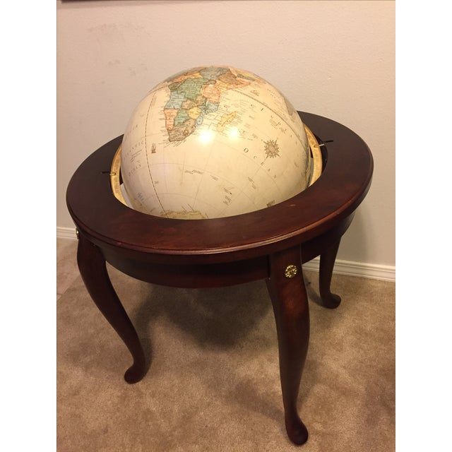"George F. Cram Co. Floor Model Classic 16"" World Globe with Wooden Stand - Image 4 of 5"