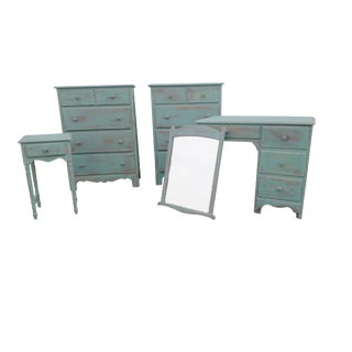 Coastal Cottage Maple Bedroom Set Vintage Maple Shabby Blue/Aqua 5 Piece Bedroom Suite Painted Maple Dressers Nightstand Desk Mirror For Sale