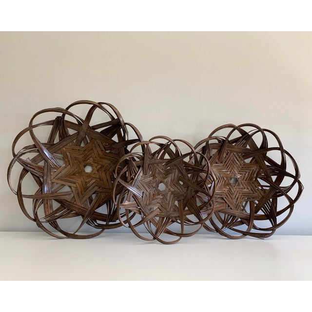 Boho Chic Vintage Star Woven Baskets - Set of 3 For Sale - Image 3 of 4