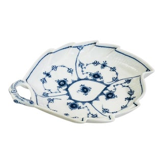 Royal Copenhagen Blue Fluted Plain No. 144 Leaf Dish