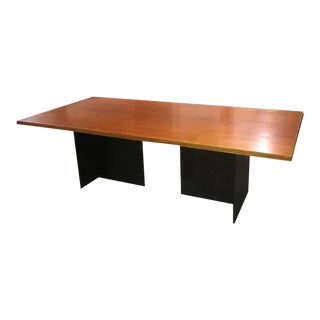 Contemporary Minimalist Blackened Steel and Birch Dining Table by Scott Gordon For Sale