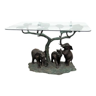 Sculptural Glass Top Center Table For Sale