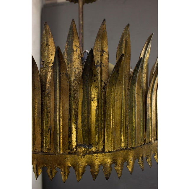 Spanish Spanish Gilt Metal Crown Ceiling Fixture For Sale - Image 3 of 9