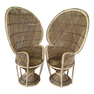 Boho Chic Wicker Peacock Chairs-A Pair For Sale