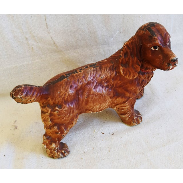 Abstract Charming Vintage Cast Iron Dog Figure Doorstop For Sale - Image 3 of 12