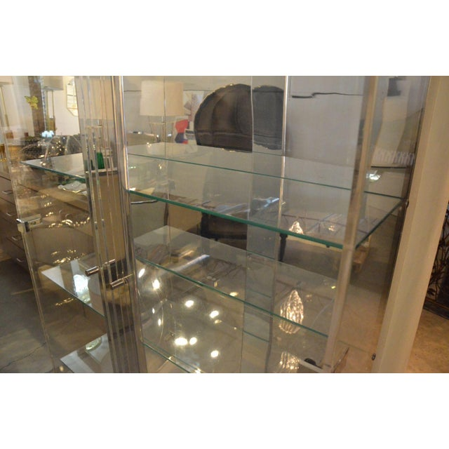 Tall Lucite Glass, Mirror and Chrome Cabinet with Upper and Lower Lighting - Image 5 of 6