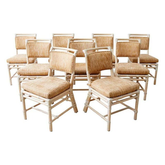 McGuire Cerused Rattan Dining Chairs- Set of 9 For Sale - Image 13 of 13