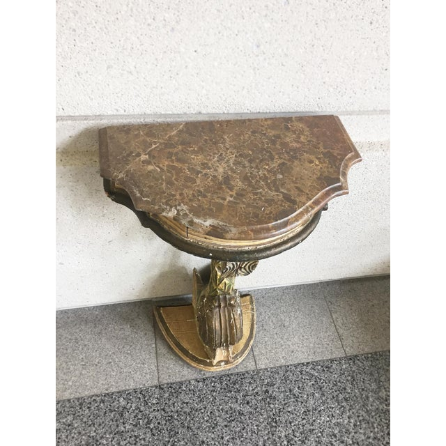 Antique Painted Carved Demi-Lune Table Stand For Sale In New York - Image 6 of 12