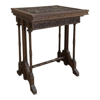 19th Century Gothic Oak Collector's Table For Sale