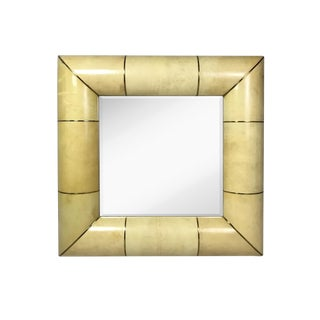 Modern Aldo Tura Style Square Vellum Mirror For Sale