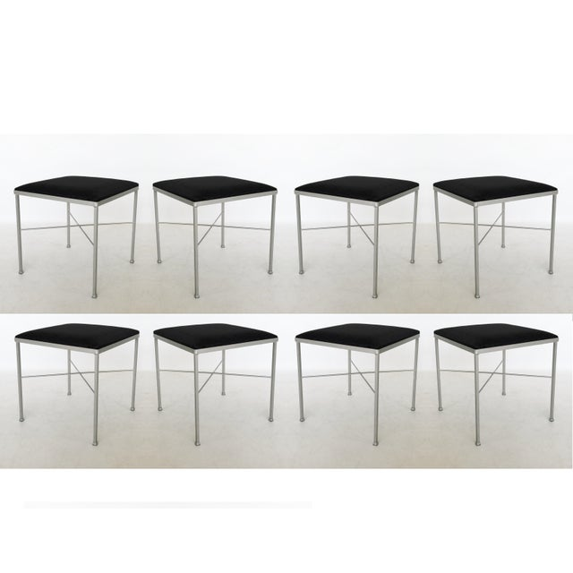 Eight X-Base Brass Stools by Thonet For Sale - Image 9 of 9
