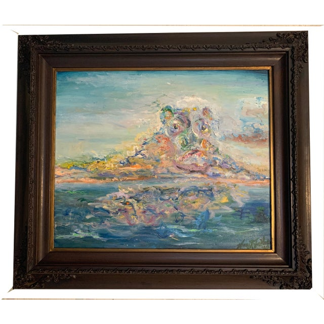 """2020s """"Storm Brewing"""" Contemporary Seascape Oil Painting by Nancy T. Van Ness, Framed For Sale - Image 5 of 5"""