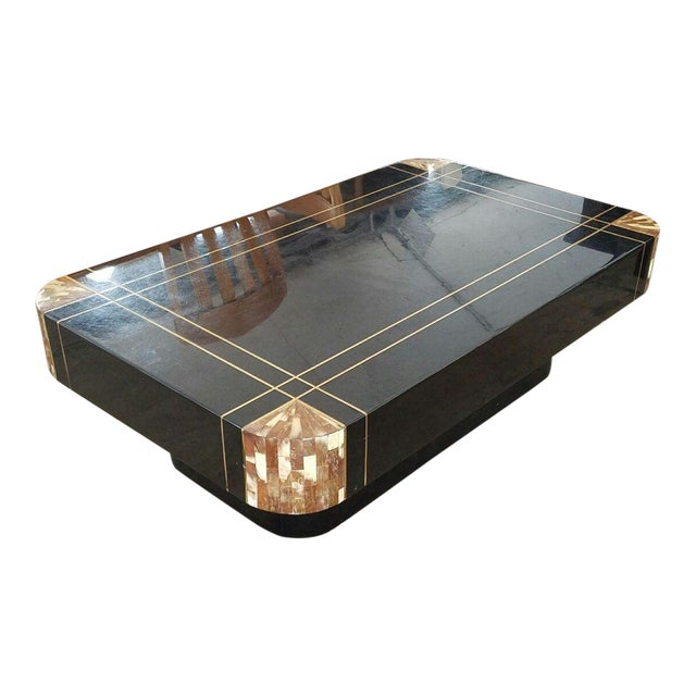 Mid-Century Black Lacquer Inlaid Brass and Tessellated Horn Coffee Table For Sale