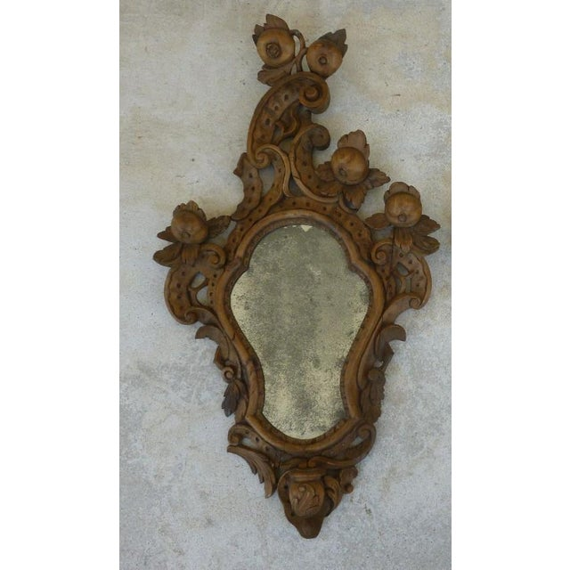 Wood Fine 19th C Italian Venetian Rococo Wood Mirrors With Fruits - a Pair For Sale - Image 7 of 10