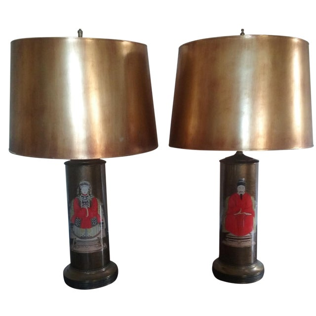 Hollywood Regency Asian Ancestral Lamps - A Pair - Image 1 of 9