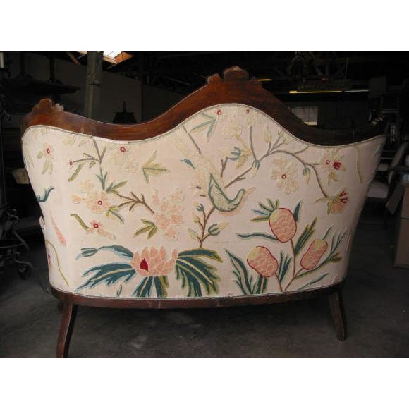 19th C. Italian Walnut Settee with Original Upholstery For Sale - Image 4 of 5