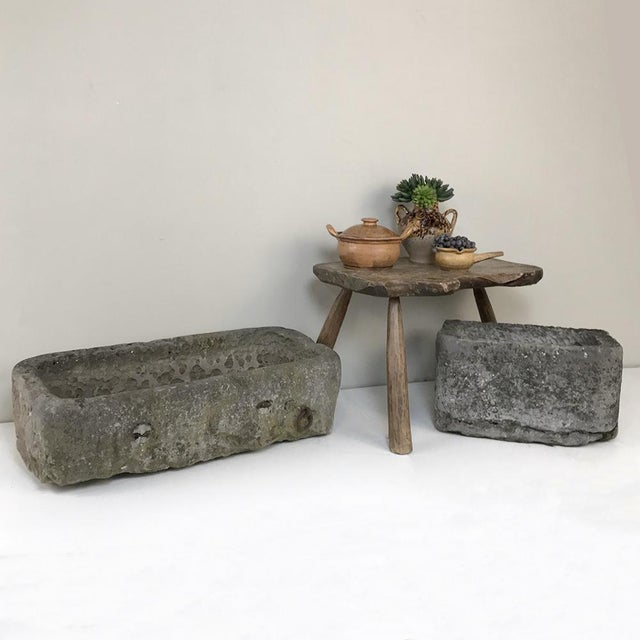 Primitive 18th Century Hand-Carved Stone Jardiniere For Sale - Image 3 of 13